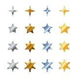 由钢、古铜、银和金子做的不同的星 库存例证