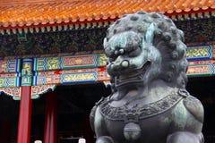 由铜故宫的被采取的infront做的狮子在北京,中国(天气从雨有点湿的) 库存图片