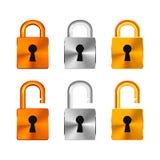 由铜,银色和金黄光滑的金属做的开放和闭合的锁在白色 库存例证