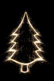 由闪烁发光物样式的圣诞树。 免版税库存图片