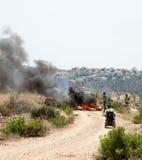 由隔离墙巴勒斯坦以色列冲突西部Ba的抗议 免版税图库摄影