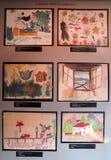 由集中营孩子的图画Pinkas犹太教堂的在布拉格,捷克 免版税库存图片