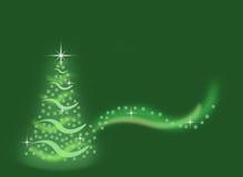 由雪花做的抽象绿色圣诞树有闪闪发光背景 库存图片