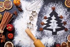 由面粉做的圣诞树 库存图片