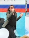 由音乐会的歌手 免版税库存照片