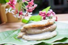 由香蕉做的泰国传统甜点 库存照片