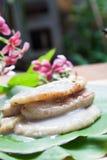 由香蕉做的泰国传统甜点 免版税图库摄影