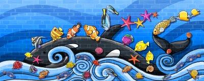 由鲸鱼墙壁油漆的动物水下的旅行 向量例证