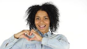 由黑人妇女的心脏标志白色背景的 免版税库存图片