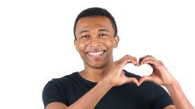 由黑人的心脏标志白色背景的 免版税图库摄影