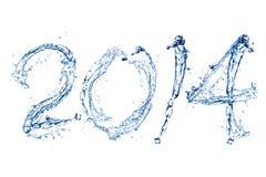 由水下落的新年快乐2014年 库存图片