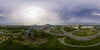 180由360公园的球状空中全景 免版税库存照片