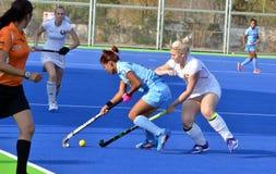 由2-1合作印度被击败的白俄罗斯在women's曲棍球 库存图片