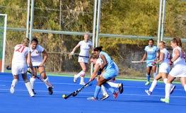由2-1合作印度被击败的白俄罗斯在women's曲棍球 免版税库存图片