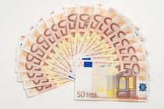 由50张欧洲钞票做的爱好者 免版税库存照片