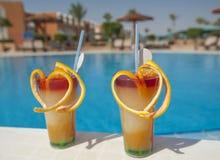 由水池的两水果鸡尾酒 免版税库存照片