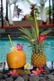 由水池的热带鸡尾酒 免版税库存照片