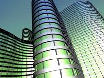由玻璃和钢做的办公楼 库存图片