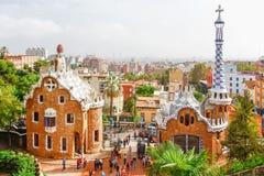 由建筑师安东尼Gaudi停放Guell在巴塞罗那,西班牙 免版税图库摄影