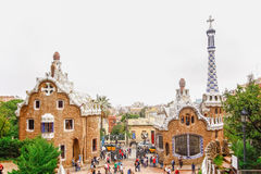 由建筑师安东尼Gaudi停放Guell在巴塞罗那,西班牙 库存照片