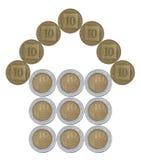 由以色列硬币做的家 库存照片