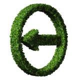 由绿色叶子做的箭头被隔绝在白色背景 3d回报 免版税库存图片