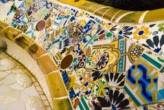 由Gaudi停放Guell长凳,巴塞罗那 免版税图库摄影