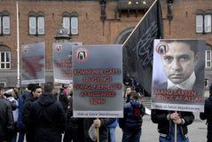 由HIZB UT-TAHIRIR AGAINT丹麦的抗议 免版税库存照片