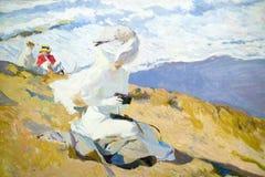 由Joaquï ¿ ½ n Sorolla如在Sorolla博物馆,马德里,西班牙中看到的y巴斯蒂达的海边绘画(1863-1923) 免版税图库摄影
