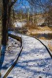 由Mountain湖的积雪的木板走道- 2 图库摄影