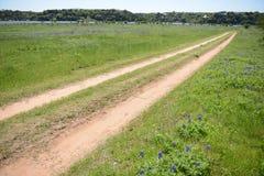 由Texas湖的长的土路 免版税库存图片