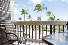 从甲板,拉奈岛的热带看法 免版税图库摄影