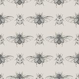 甲虫葡萄酒无缝的样式 免版税图库摄影