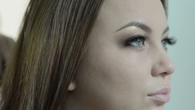 申请在一个美丽的少妇的构成,填装在眼眉 股票视频