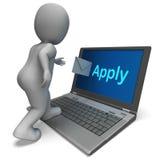 申请在网上申请就业的电子邮件展示 图库摄影