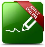 申请在网上编辑笔象绿色正方形按钮 图库摄影