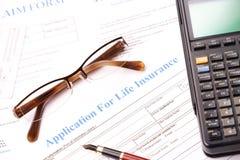 申请表保险生活 免版税库存照片