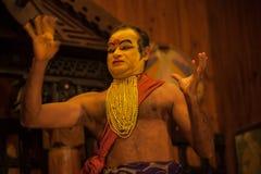 申请面孔构成的Kathakali执行者 库存照片