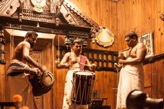 申请面孔构成的Kathakali执行者 免版税库存照片