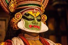 申请面孔构成的Kathakali执行者 免版税库存图片