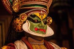 申请面孔构成的Kathakali执行者 库存图片