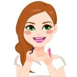 申请嘴唇光泽的妇女 向量例证