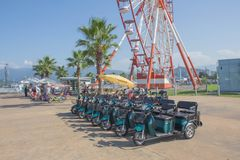 电三轮车滑行车份额租计划 自行车份额计划是由巴统负责 免版税库存照片