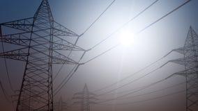 电传输 反对晴朗的天空的被简化的输电线 3d翻译 免版税库存图片