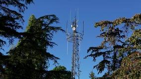 电信塔设备和中继器天线盘 股票录像