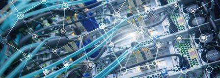 电信概念有抽象网络结构和服务器室背景 免版税库存照片
