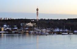 电信的塔在斯德哥尔摩 免版税库存图片