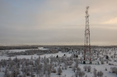 电信耸立和卫星盘在晚上天空的电信网络与日落和冬天北部森林 免版税图库摄影