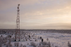 电信耸立和卫星盘在晚上天空的电信网络与日落和冬天北部森林 图库摄影
