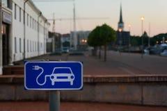 电充电站在爱沙尼亚 库存照片
